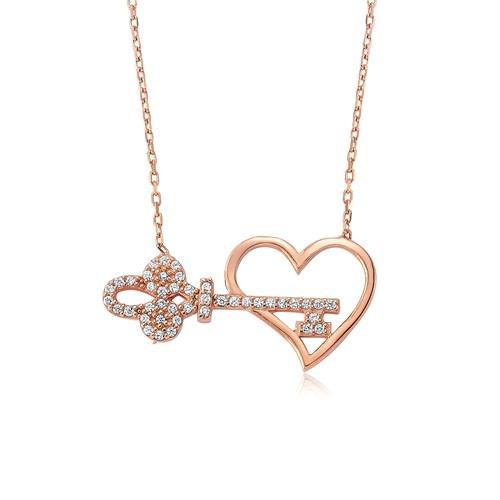Bayan Lili Kalbimin Anahtarı Gümüş Kolye