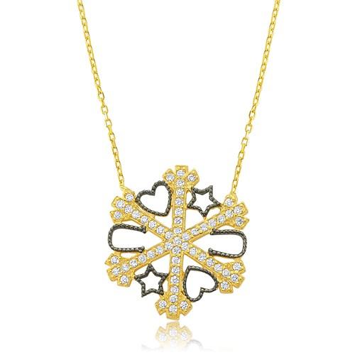 Olivin Accesories Altın Kaplama Kar Tanesi Gümüş Şans Kolye 432620