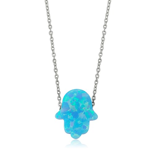 Bayan Lili Mavi Opal Fatıma'nın Eli Gümüş Kolye