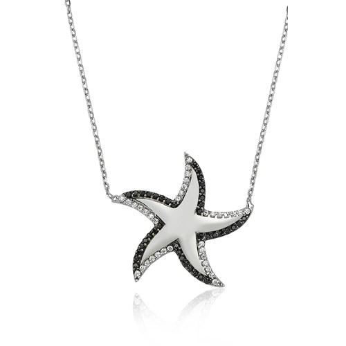Bayan Lili Gümüş Deniz Yıldızı Kolye