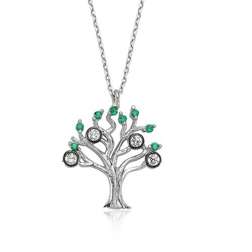 Bayan Lili Gümüş Hayat Ağacı Kolye