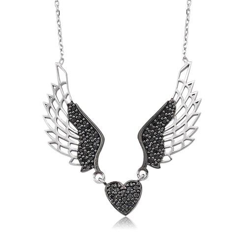 Bayan Lili Gümüş Kanatlı Kalp Kolye