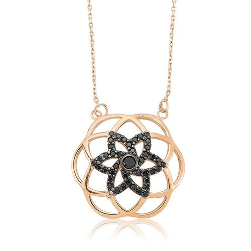 Olivin Accesories Gümüş Siyah Yaşam Çiçeği Kolye 432757