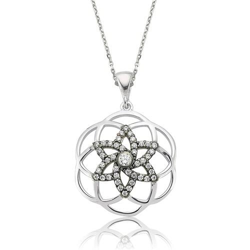 Olivin Accesories Gümüş Yıldız Yaşam Çiçeği Kolye 432758