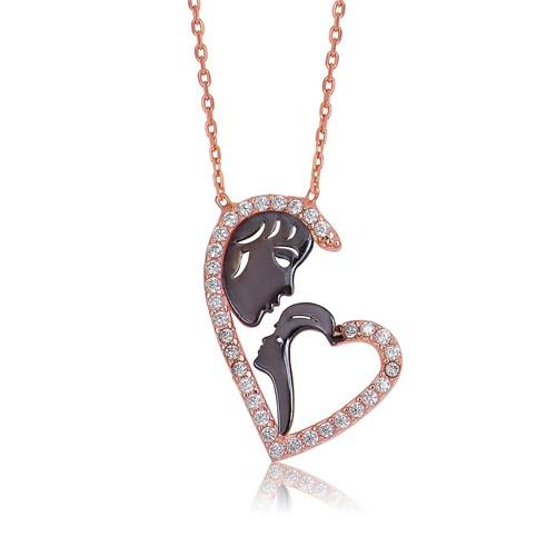 Olivin Accesories Gümüş Kalp Anne Çocuk Kolye 432773