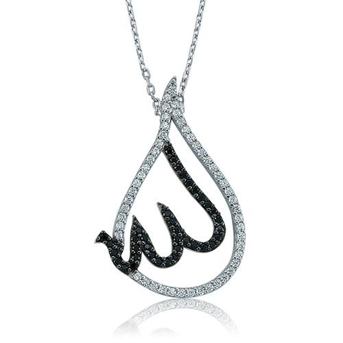 Olivin Accesories Gümüş Rodyum Kaplama Allah Yazılı Damla Kolye 432782