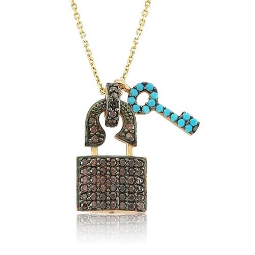 Bayan Lili Gümüş Firuze Taşlı Kalbimin Anahtarı Kolye