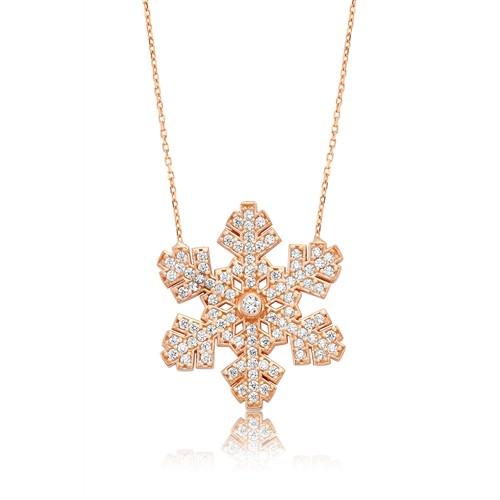 Olivin Accesories Gümüş Rose Taşlı Kar Tanesi Kolye 432830