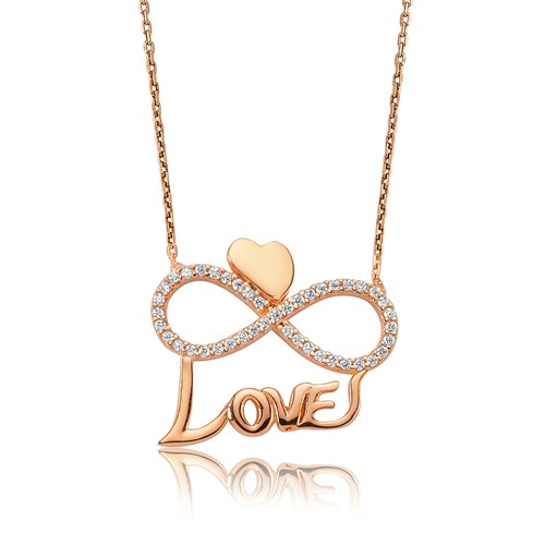 Olivin Accesories Gümüş Kalpli Sonsuzluk Love Kolye 432842