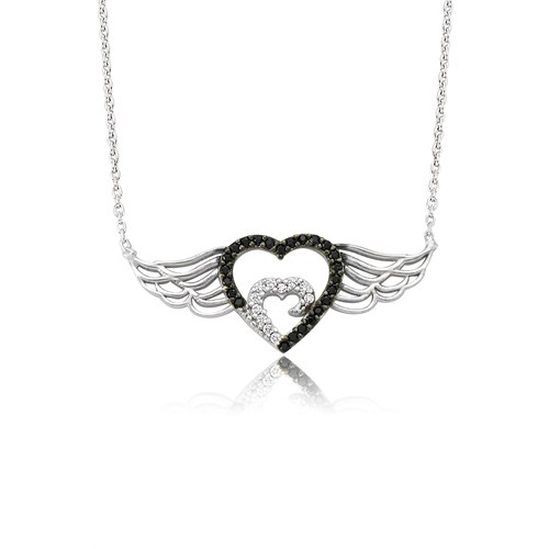 Bayan Lili Gümüş Melek Kanatlı Kalp Kolye
