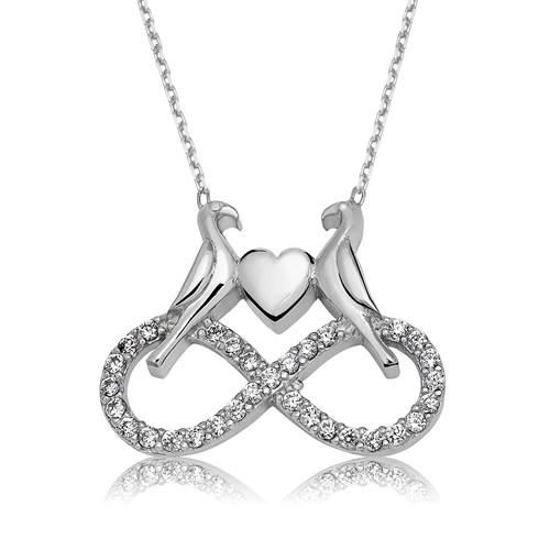 Olivin Accesories Gümüş Sonsuz Aşık Kumru Kolye 432883