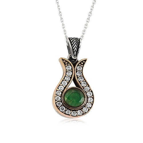 Olivin Accesories Gümüş Zümrüt Taşlı Otantik Lale Kolye 433074