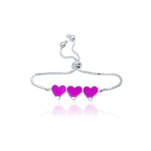 Olivin Accesories Gümüş Üç Kalp Mineli Çocuk Bileklik 433176