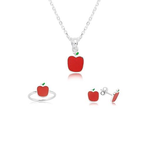 Olivin Accesories Gümüş Kırmızı Elma Çocuk Set 433218