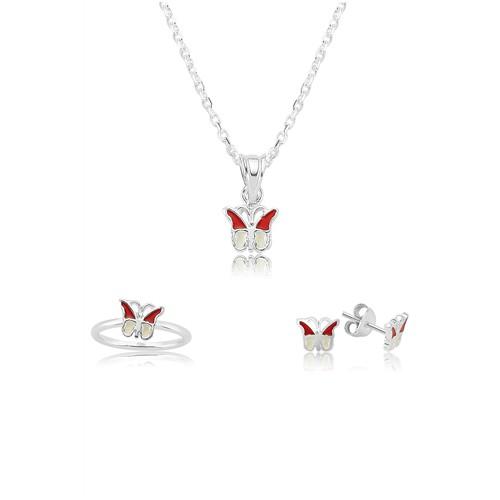 Olivin Accesories Gümüş Kırmızı Kelebek Çocuk Set 433220