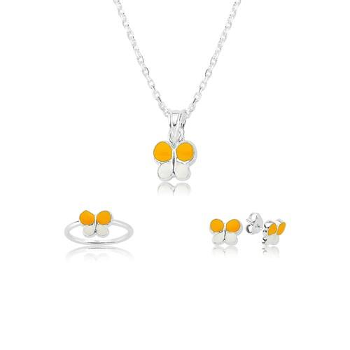 Olivin Accesories Gümüş Sarı Kelebek Çocuk Set 433221