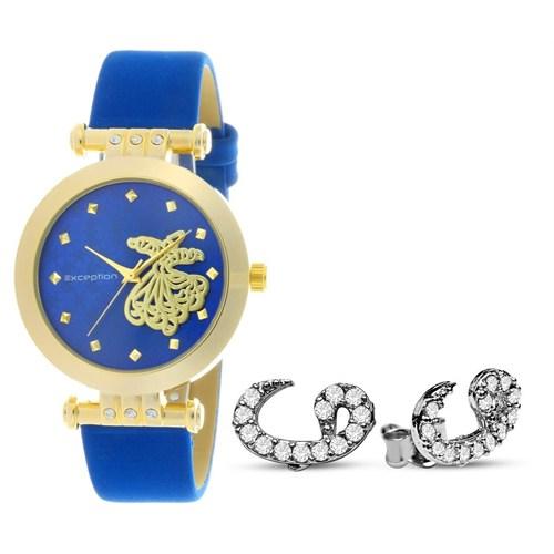 Tesbihane Vav Tasarım Exception Bayan Saat - Gümüş Vav Küpe Kombini
