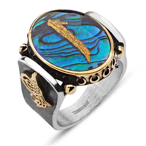 Tesbihane Tuğralı Okyanus Sedefi Üzerine Altın Varaklı Elif Harfi Gümüş Yüzük