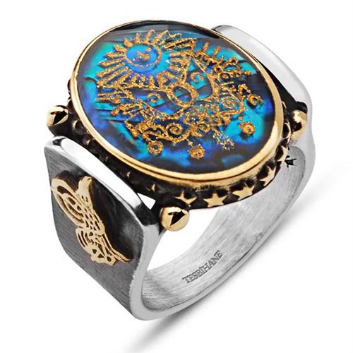 Tesbihane Tuğralı Okyanus Sedefi Üzerine Altın Varak Devlet Armalı Gümüş Yüzük
