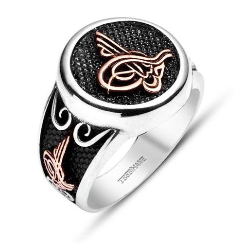 Tesbihane Tuğra Tasarım-925 Ayar Gümüş Özel Tasarım Yüzük