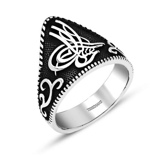 Tesbihane Özel Tuğra Tasarım 925 Ayar Gümüş Okçu (Zihgir) Yüzüğü