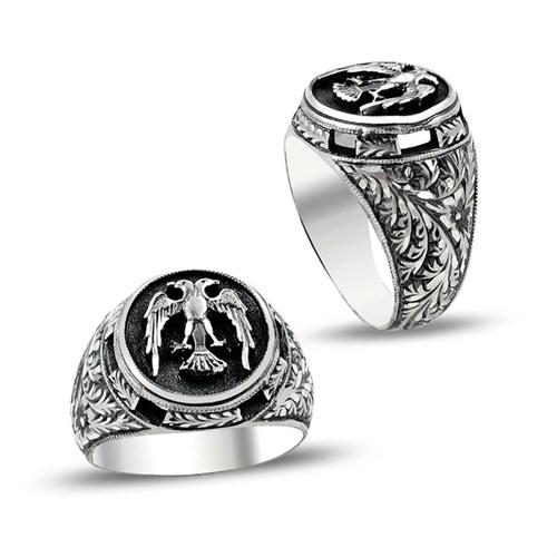 Tesbihane Özel Erzurum El İşçiliği Selçuklu Kartalı Gümüş Yüzük