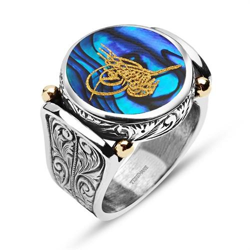 Tesbihane Okyanus Sedefi Üzerine Altın Varak Tuğralı Gümüş Yüzük