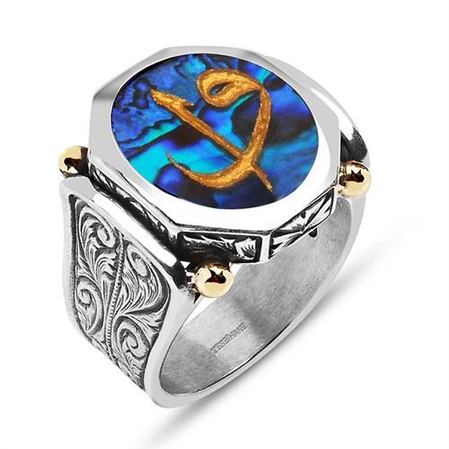 Tesbihane Okyanus Sedefi Üzerine Altın Varak Elif Vav Harfli Gümüş Yüzük