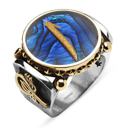 Tesbihane Okyanus Sedefi Üzerine Altın Varak Elif Harfli Gümüş Yüzük