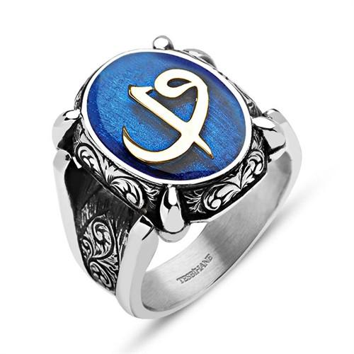 Tesbihane Mavi Mine Üzerine Elif Vav 925 Ayar Gümüş Oval Yüzük