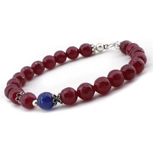 Tesbihane Gümüşlü Mavi Kırmızı Jade Doğaltaş Bileklik
