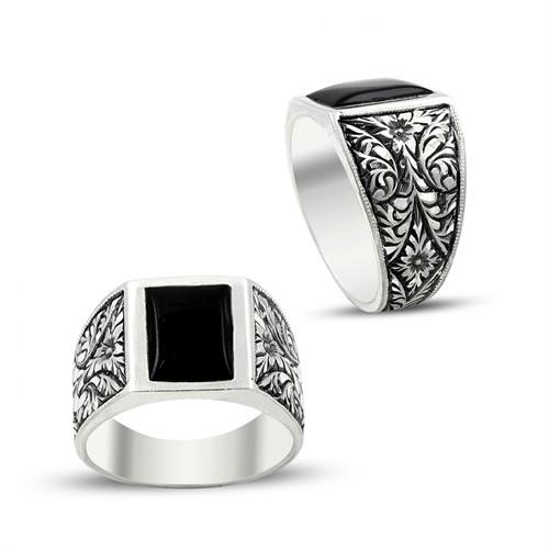 Tesbihane Erzurum El İşi Siyah Mineli Gümüş Yüzük