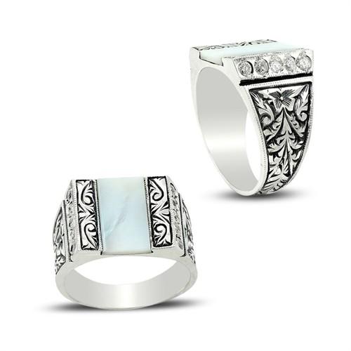Tesbihane Erzurum El İşi Sedef-Zirkon Taşlı 925 Ayar Gümüş Yüzük