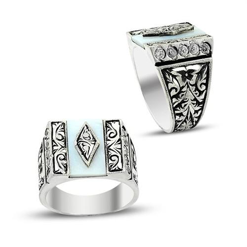 Tesbihane Erzurum El İşi Sedef Taşlı 925 Ayar Gümüş Yüzük