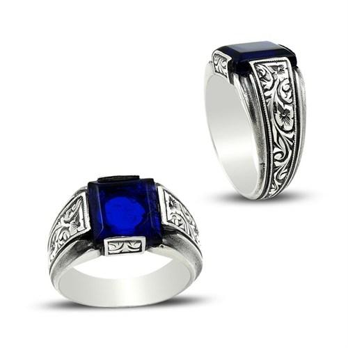 Tesbihane Erzurum El İşi Mavi Mineli Gümüş Yüzük