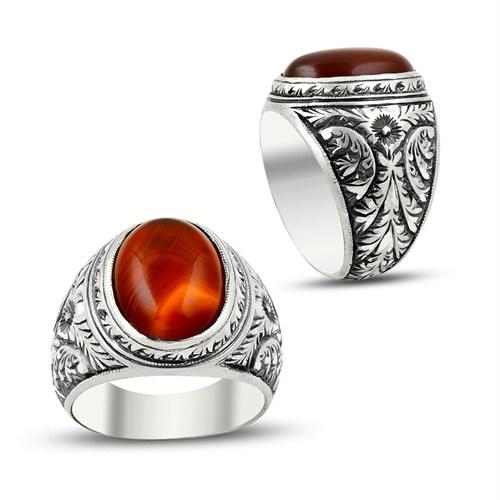 Tesbihane Erzurum El İşi Akik Taşlı 925 Ayar Gümüş Yüzük