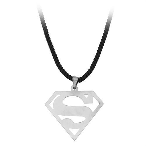Tesbihane 925 Ayar Gümüş Süpermen Kolye