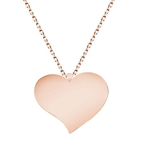 Tesbihane 925 Ayar Gümüş Roze Kaplamalı Kalp Tasarım Kolye