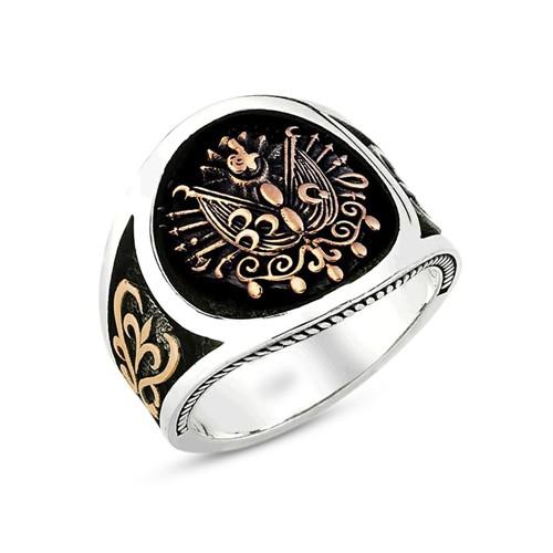 Tesbihane 925 Ayar Gümüş Osmanlı Armalı Yüzük