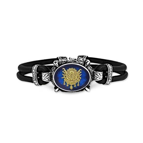 Tesbihane 925 Ayar Gümüş Mavi Mineli Osmanlı Armalı Bileklik