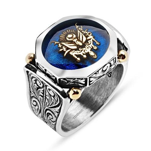 Tesbihane 925 Ayar Gümüş Mavi Mine Üzerine Devlet Armalı Yüzük