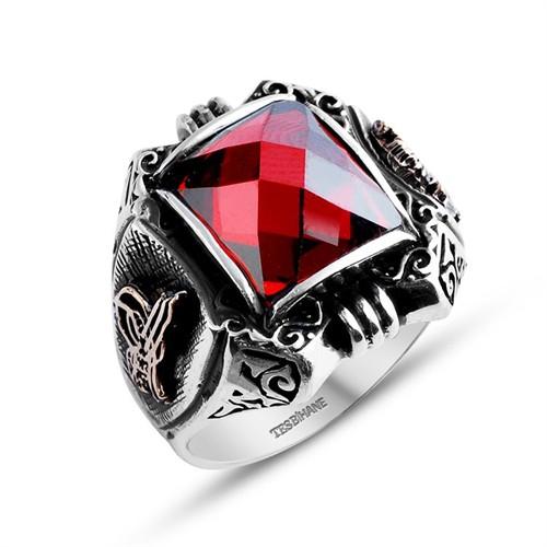 Tesbihane 925 Ayar Gümüş Kırmızı Zirkon Taşlı Payitaht Yüzük