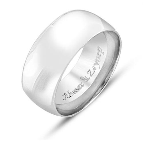 Tesbihane 925 Ayar Gümüş İsim Yazılı Bayan Alyans