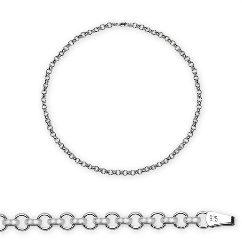 Tesbihane : 925 Ayar Gümüş 50Cm 10,20 Gr 80 Mikron Doç Erkek Zincir Kolye