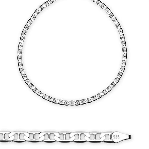 Tesbihane : 925 Ayar Gümüş 50 Cm 100 Mikron 10,30 Gr Barlı Erkek Zincir Kolye