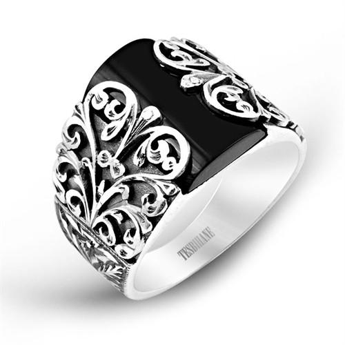 Tesbihane Erzurum El İşçiliği Oniks Taşlı Gümüş Yüzük