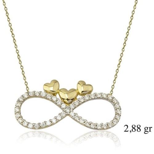Tesbihane 14 Ayar Altın Zirkon Taşlı Minik Kalpler Sonsuzluk Kolye