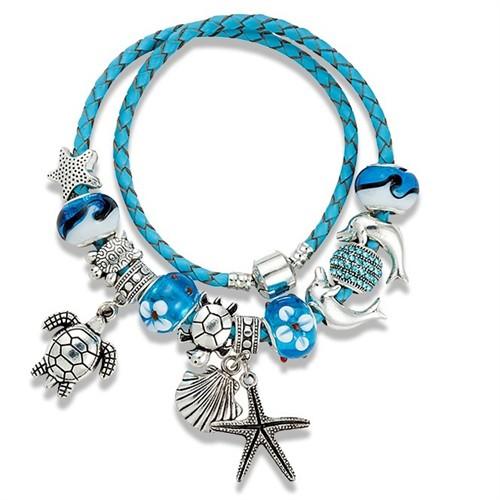 Angemiel Mavi Deri Deniz Yıldızı Yunus Charm Bileklik