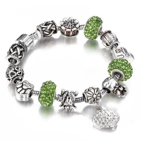 Angemiel Angemıel Yeşil Geyik Kalp Figürlü Charm Bileklik
