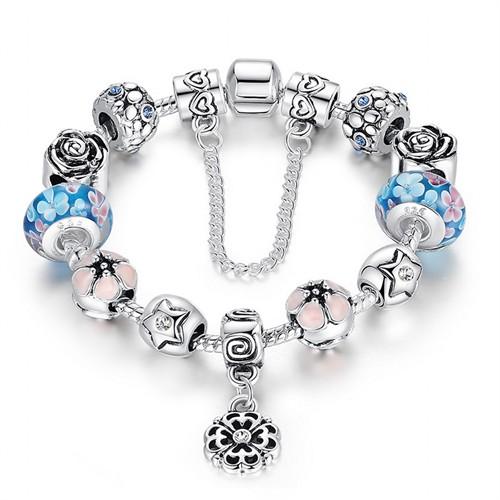 Angemiel Angemıel Gümüş Mavi Pembe Çiçek Charm Bileklik